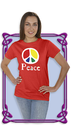 Flowing 'Peace' Color Women's Dark T-Shirt (Red)