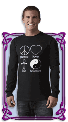 Peace Love Life Balance Men's Long Sleeve Dark T-Shirt (Black)
